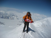 Greg M using 40 Below overboots on summit of Mt. Logan 2008