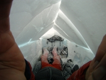 Lonnie Dupre wearing 40 Below overboots and camp booties on Denali on the One World Endeavors 2011
