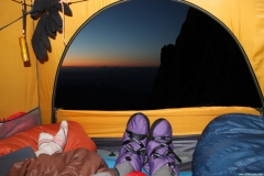 Bill Lokey on Rainier with camp booties 2015